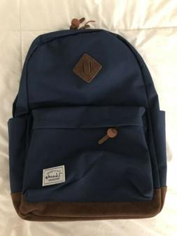 Vaschy  Classic Backpack Navy Blue with Suede Bottom NWT