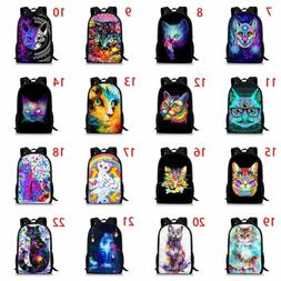 Colorful Cat Dog Girls School Bags Kids Backpack Womens Lapt