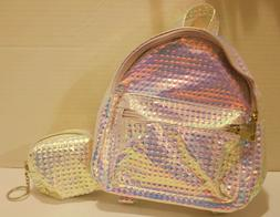 Iridescent Toddler Kids Mini Backpack w/2 Compartments & Coi