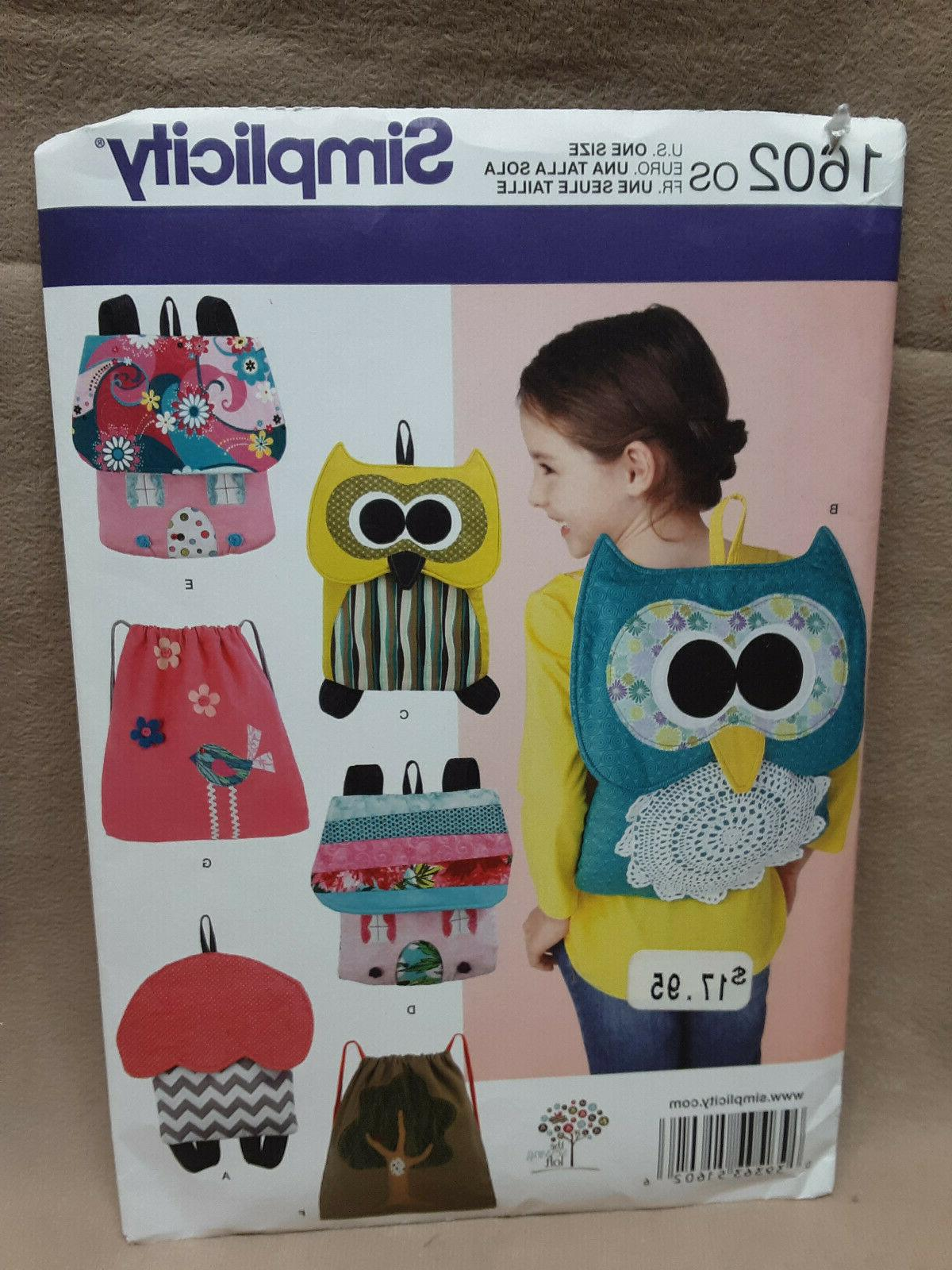 1602 one size bag backpack sack owl
