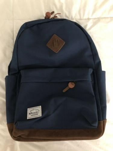 classic backpack navy blue with suede bottom
