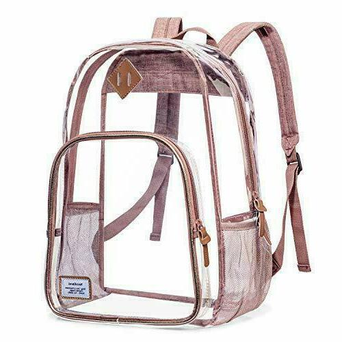 rose gold clear backpack stadium approved transparent