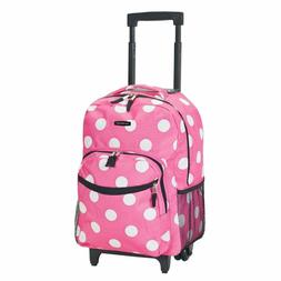 Rockland Luggage 17 Inch Rolling Backpack, Pink Dot, Medium