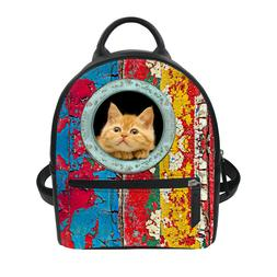 NEW PU Leather Handbag Many Cat Travel Backpack kids Day Pac