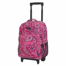 New Pink Paisley Rolling Backpack Floral School Bookbag Whee