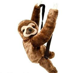 """Plush Sloth Back Pack 20"""" Toy With Zipper, Adjustable Straps"""