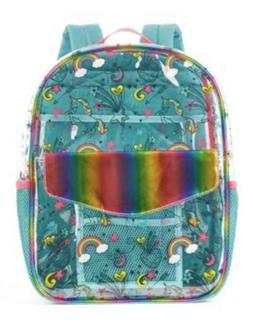 unicorn doodles 16 clear backpack