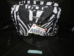 Rockland Zebra Striped Footed Travel Bag 14 x 11